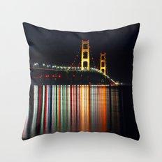 Mackinac Bridge at Night Throw Pillow