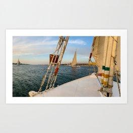 Egypt - Felucca Sailing on the Nile Art Print