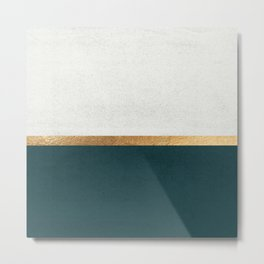Deep Green, Gold and White Color Block Metal Print