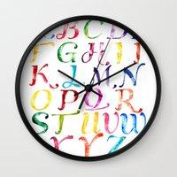 alphabet Wall Clocks featuring Alphabet by Bridget Davidson