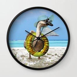 Summer Fun at the Beach ~ Vacation Goose! Wall Clock