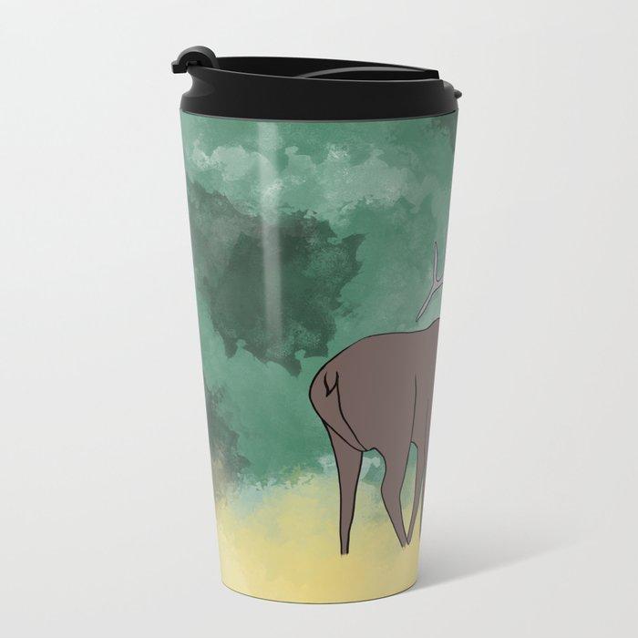 Bull Elk Bugling Metal Travel Mug