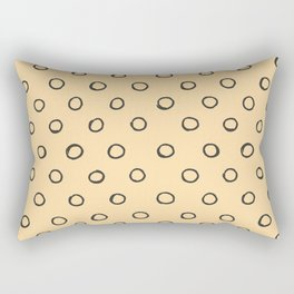 Hand painted black cape honey yellow polka dots pattern Rectangular Pillow