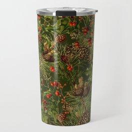 Traditional Holly Christmas Pattern Travel Mug