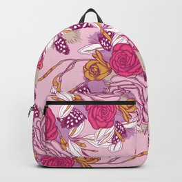 Spring flowers on pink background Backpack
