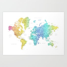 """Rainbow gradient watercolor world map with cities """"Maxwell"""" - SIZES LARGE & XL ONLY Art Print"""