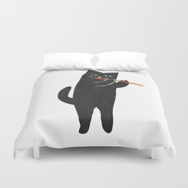 Black cat with flute Duvet Cover
