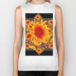 BLACK-GREY RED SUNFLOWERS PATTERS Biker Tank