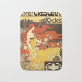 Vintage American art nouveau Bicycles ad Bath Mat