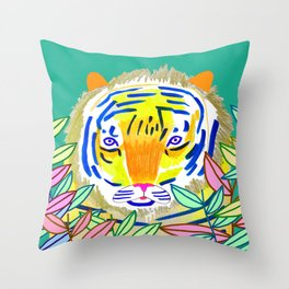 Tiger in Bushes. Throw Pillow