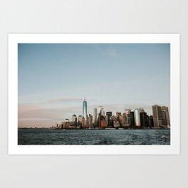 Skyline Upper Bay Sunset | Colourful Travel Photography | New York City, America (USA) Art Print
