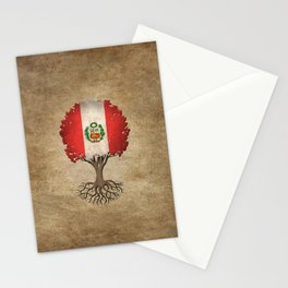 Vintage Tree of Life with Flag of Peru Stationery Cards