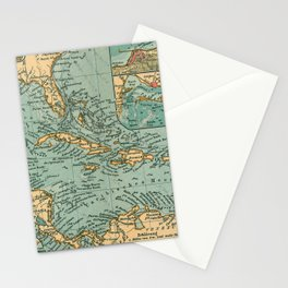 Vintage Map of The Caribbean (1906) Stationery Cards