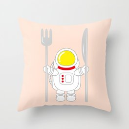Space Odyssey | Astronaut Eats | Space Utensils | Galaxy Fork and Knife | pulps of wood Throw Pillow