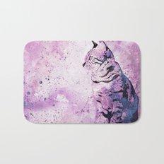 pink Watercolor Cat Art Bath Mat