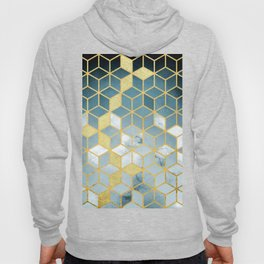 Shades Of Turquoise Green Cubes Pattern Hoody