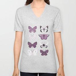 Butterflies Study no. 12 - butterflies, butterfly art, mauve butterflies, purple butterflies, butterfly art, mauve, butterfly stickers Unisex V-Neck