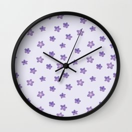 Abstract lilac violet lavender modern floral pattern Wall Clock