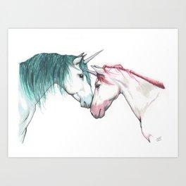 Unicorns in love <3 Art Print