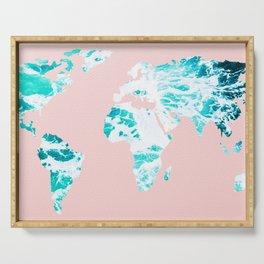 Ocean World Map Sea Dreams Serving Tray