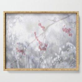 Winter Scene Rowan Berries With Snow And Bokeh #decor #buyart #society6 Serving Tray