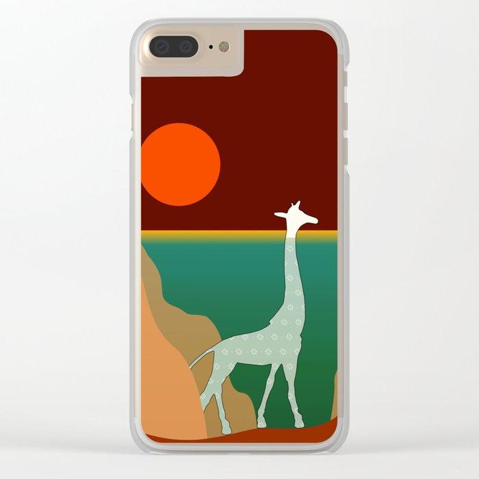 Giraffe Aquatic Scene Clear iPhone Case