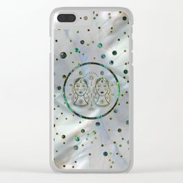 Gemini Zodiac Gold Abalone on Constellation Clear iPhone Case