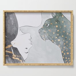 Woman Cat Kitten Drawing Pet Girl Art Dreamy Grey Gold Splatter Serving Tray