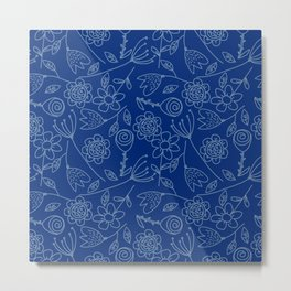 Floral blue | Nature pattern Metal Print