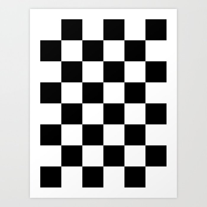 Large Checkered - White and Black Kunstdrucke