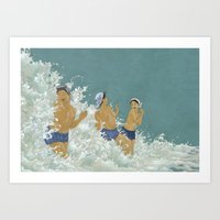 kozyndan Art Prints featuring Three Ama Enveloped In A Crashing Wave by kozyndan