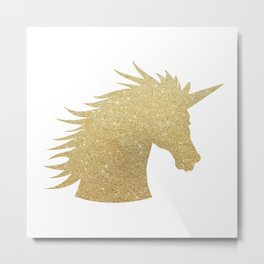 Gold Glitter Unicorn Metal Print