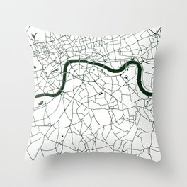 London White on Green Street Map Throw Pillow