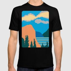 Mountains Black Mens Fitted Tee MEDIUM