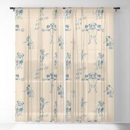 Pug Workout Sheer Curtain