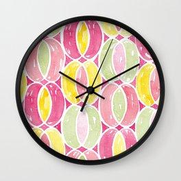 Geometric Watercolor Ovals Pattern | Original Pink, Green and Yellow Wall Clock