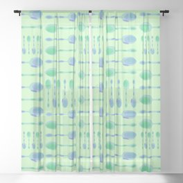 Unique Artsy Spoons! (Pale Green) Sheer Curtain