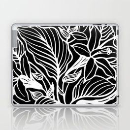 Black White Floral Minimalist Laptop & iPad Skin