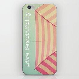 Pink Umbrella Aqua Sky iPhone Skin