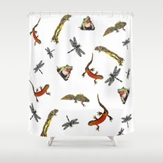 Let's go to the pond Shower Curtain