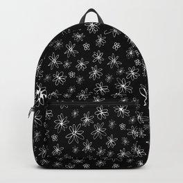 Loopy Flowers - white on black Backpack