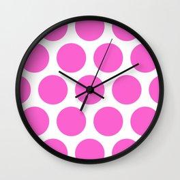 Pink Large Polka Dots Wall Clock