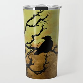 Crows on Branch Against Stormy Sky Art A522 Travel Mug