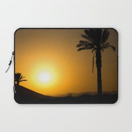 Golden Andalusian sunset with silhouette palm trees and mountain Laptop Sleeve