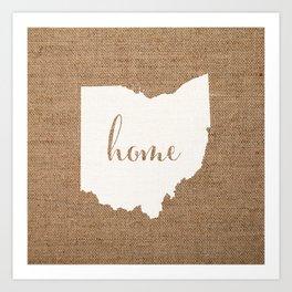 Ohio is Home - White on Burlap Art Print