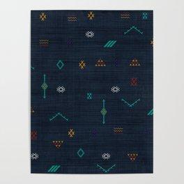 Cactus Silk Pattern in Navy Blue Poster