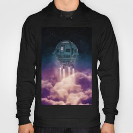 Out of the atmosphere / 3D render of spaceship rising above clouds Hoody
