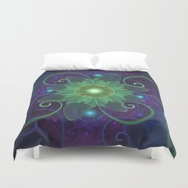 Glowing Blue-Green Fractal Lotus Lily Pad Pond Duvet Cover