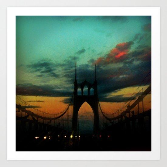 Bridge to Portland - St. Johns - On a Warm October Evening Art Print