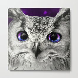 Galaxy Owl Eyes Metal Print